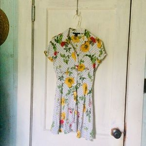 Dresses - Forever 21 Floral and Polka Dot Tunic Dress